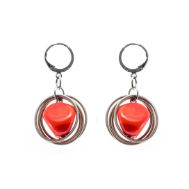 Earrings Stone Orange Coral